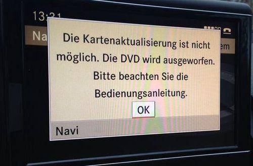 Die kartenaktualierierung ist nicht möglich. Die DVD wir ausgeworfen. Bitte beachten sie die Bedienungsanleitung